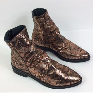 Free People Amarone Bronze Ankle Boot Sz 37